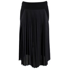 Givenchy Black Silk Blend Pleated Midi Skirt  - Size US 4