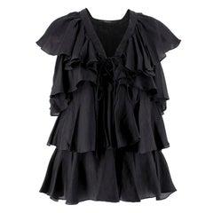 Givenchy Black Silk Ruffle Top XS