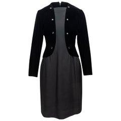 Givenchy Black Silk & Velvet Long Sleeve Dress