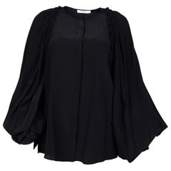 Givenchy Black Silk Wide Sleeve Ruffle Blouse NWT Sz 40