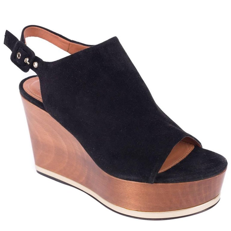 Givenchy Black Suede Gold Trim Wooden Wedge Heels