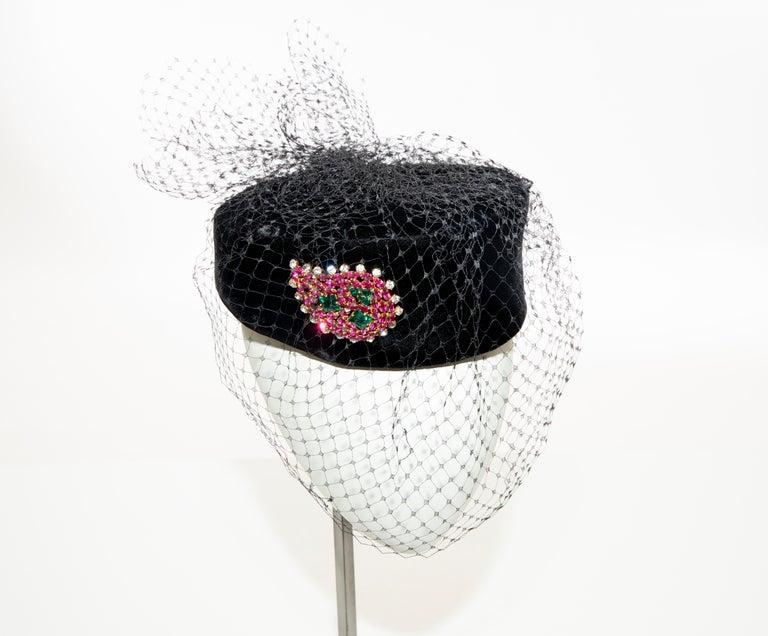 Givenchy Black Velvet Pillbox Hat Crystal Brooch Birdcage Veil, Circa: 1960's For Sale 7