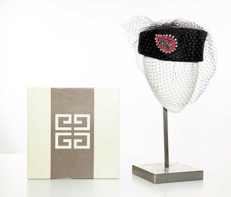 Givenchy Black Velvet Pillbox Hat Crystal Brooch Birdcage Veil, Circa: 1960's For Sale 8
