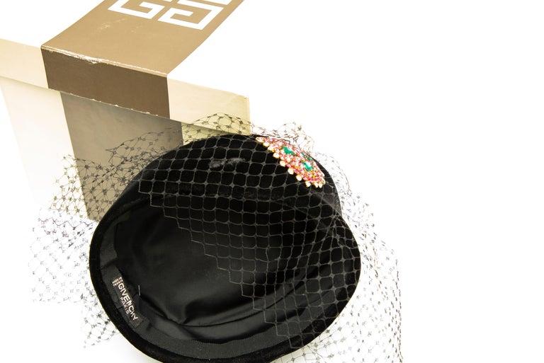 Givenchy Black Velvet Pillbox Hat Crystal Brooch Birdcage Veil, Circa: 1960's For Sale 9