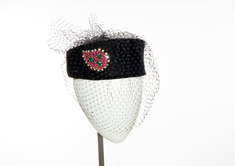 Givenchy Black Velvet Pillbox Hat Crystal Brooch Birdcage Veil, Circa: 1960's In Excellent Condition For Sale In Cincinnati, OH