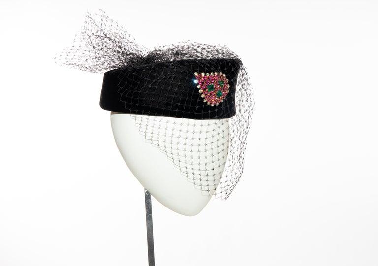 Women's Givenchy Black Velvet Pillbox Hat Crystal Brooch Birdcage Veil, Circa: 1960's For Sale
