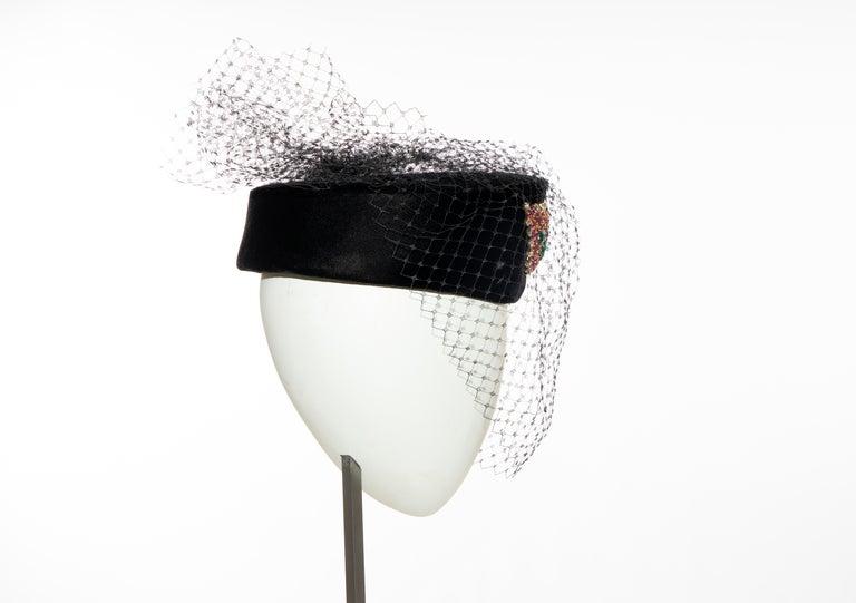 Givenchy Black Velvet Pillbox Hat Crystal Brooch Birdcage Veil, Circa: 1960's For Sale 1