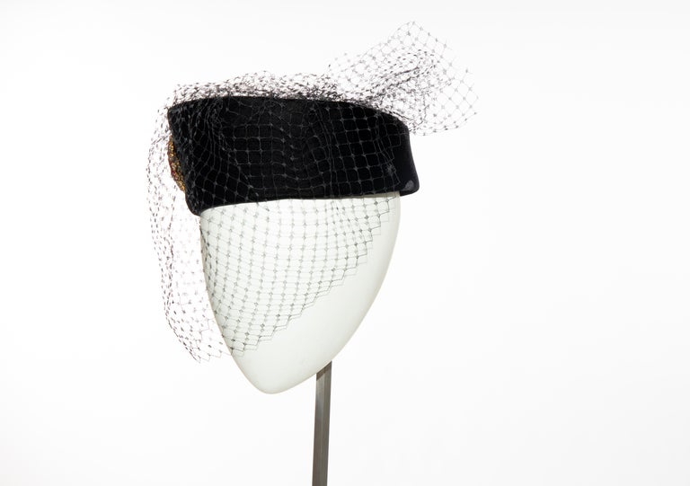Givenchy Black Velvet Pillbox Hat Crystal Brooch Birdcage Veil, Circa: 1960's For Sale 4