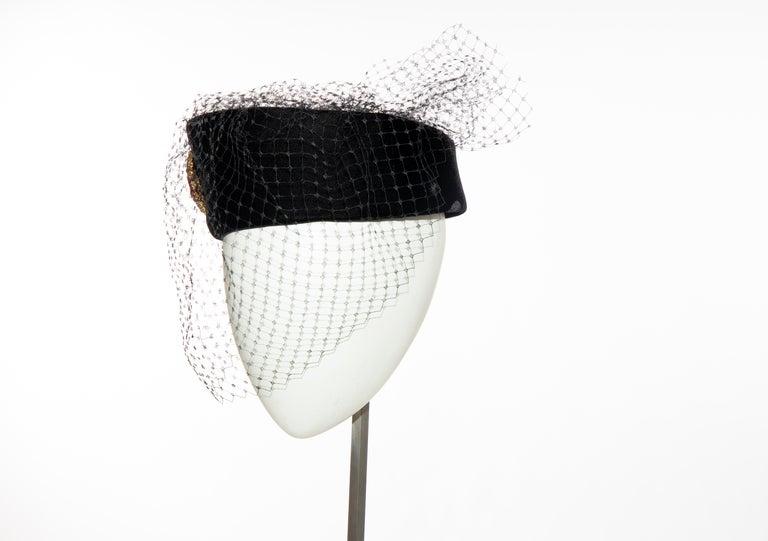 Givenchy Black Velvet Pillbox Hat Crystal Brooch Birdcage Veil, Circa: 1960's For Sale 5