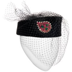 Givenchy Black Velvet Pillbox Hat Crystal Brooch Birdcage Veil, Circa: 1960's
