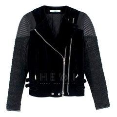 Givenchy Black Velvet, Tweed and Leather Jacket - Size US 4