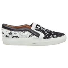 Givenchy Black & White Leather & Lace Slip-On Sneakers