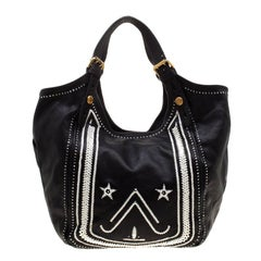 Givenchy Black/White Leather New Sacca Hobo
