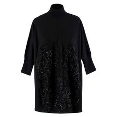 Givenchy Black Wool Beaded Bustier Oversized Knit Sweater - Size M