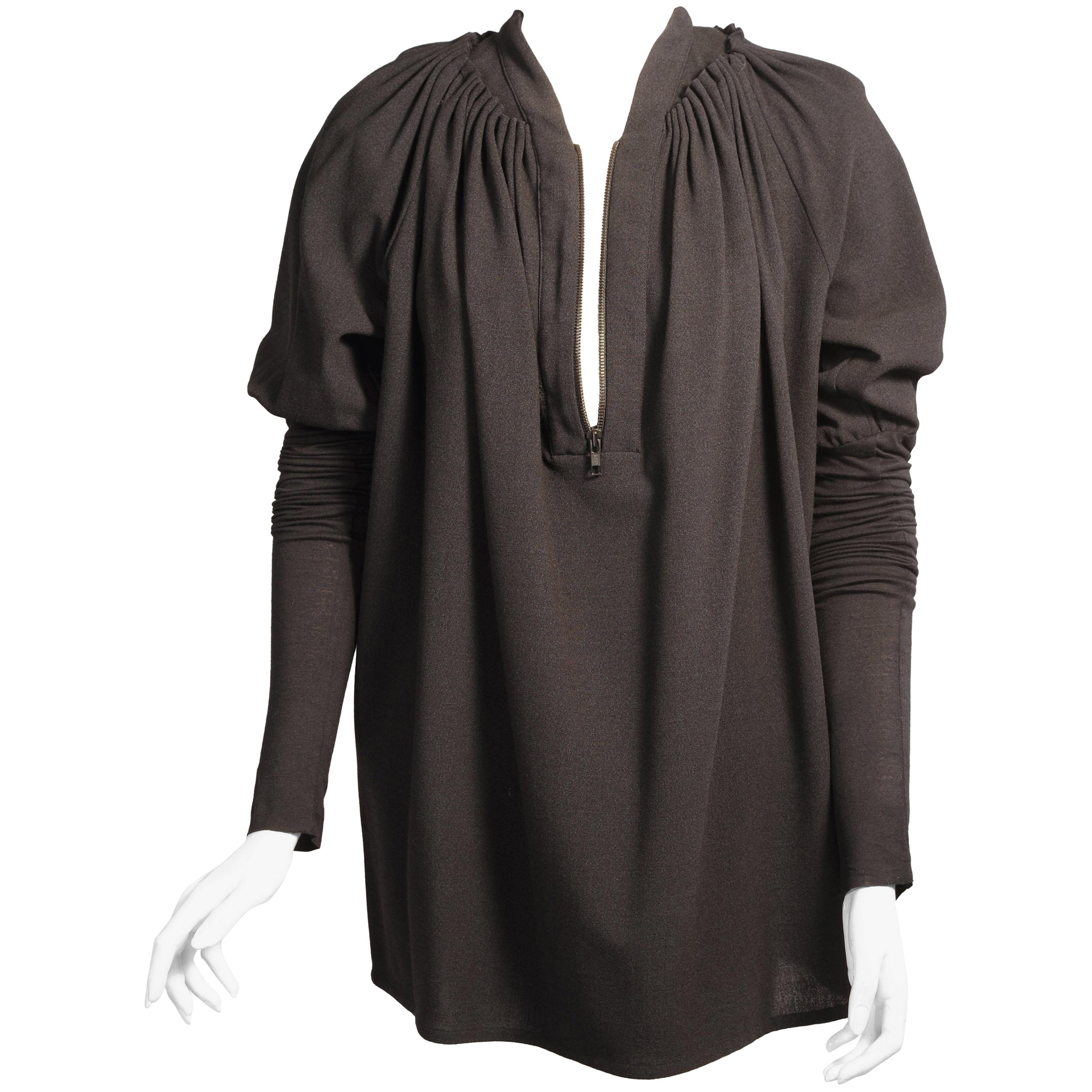 Givenchy Black Wool/Silk Blend Zip Front Tunic with Exceptionally Long Sleeves