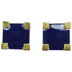 Givenchy Blue/Gold Square Clip On Earrings