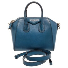 Givenchy Blue Grained Leather Mini Antigona Bag