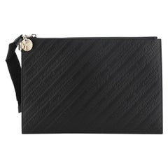 Givenchy Bond Zip Pouch Logo Embossed Leather Large