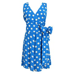 Givenchy Boutique Blue White Silk Polka Dots Rockabilly Cocktail Dress