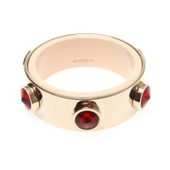 Givenchy Brass and Red Stone Accent Bangle
