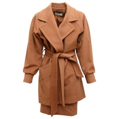 Givenchy  Brown 70s/80s Cashmere Coat and Skirt Set