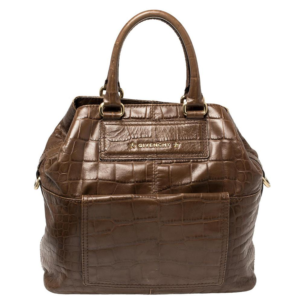 Givenchy Brown Croc Embossed Leather Tote