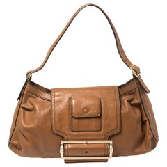 Givenchy Brown Leather Buckle Flap Hobo