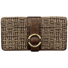 GIVENCHY Brown Leather & Gold Monogram Gathered Canvas Wallet