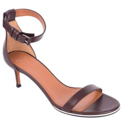 Givenchy Brown Leather Silver Trim Nadia Heel Sandals