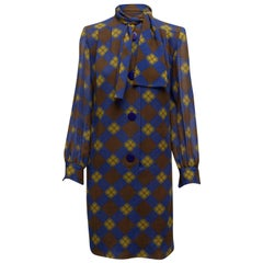 Givenchy Brown & Multicolor Argyle Long Sleeve Dress