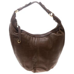 Givenchy Brown Signature Embossed Leather Hobo