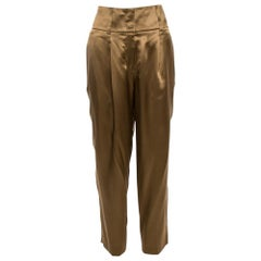 Givenchy Brown Silk Satin Pleated Trousers M
