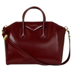 Givenchy Burgundy Shiny Lord Calfskin Leather Medium Antigona Bag