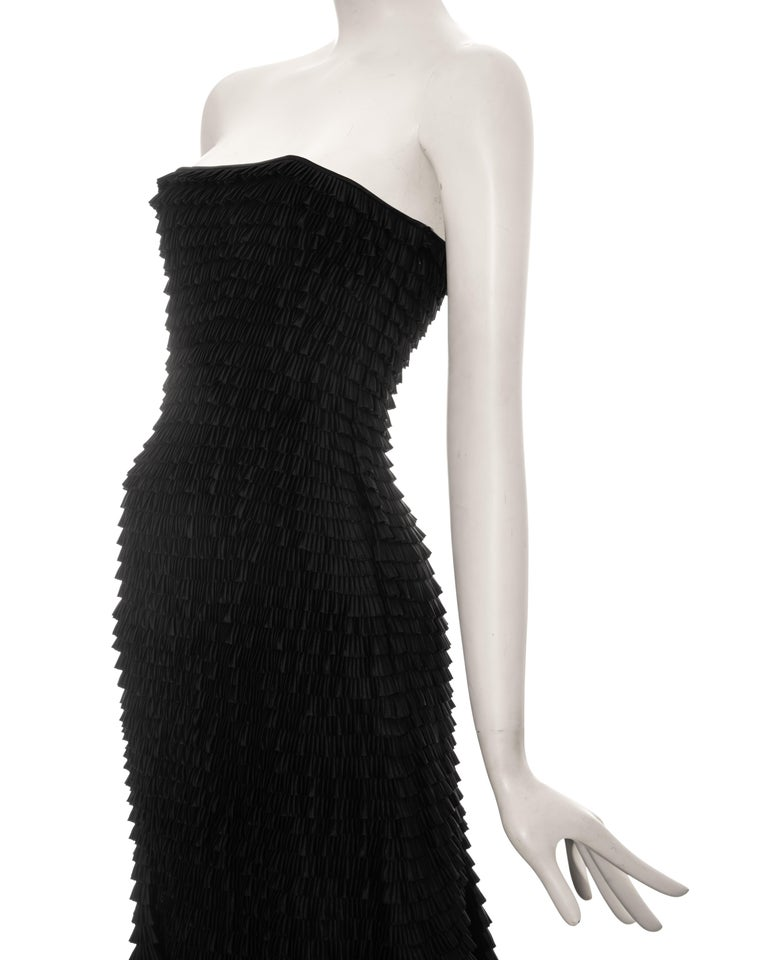Givenchy by Alexander McQueen black ruffled fishtail evening dress, ss 1999 For Sale 2