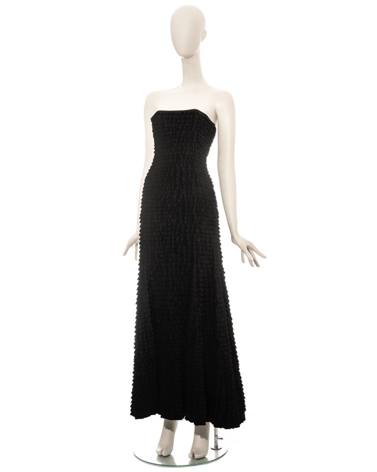 Givenchy by Alexander McQueen black ruffled fishtail evening dress, ss 1999 For Sale 3