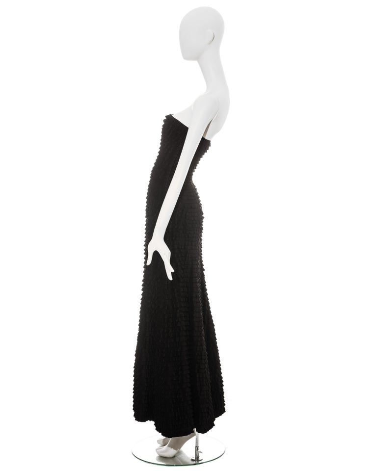 Givenchy by Alexander McQueen black ruffled fishtail evening dress, ss 1999 For Sale 4