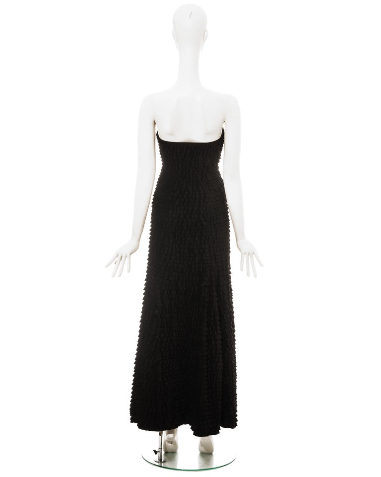 Givenchy by Alexander McQueen black ruffled fishtail evening dress, ss 1999 For Sale 5