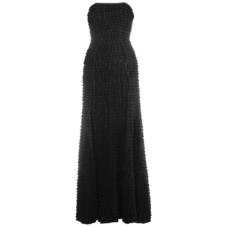 Givenchy by Alexander McQueen black ruffled fishtail evening dress, ss 1999 For Sale