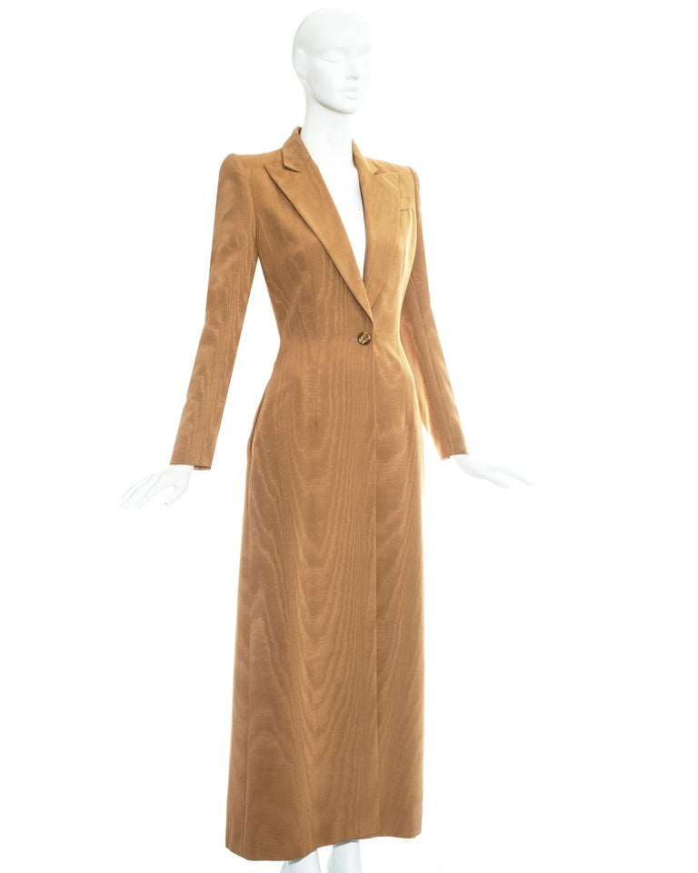 Brown Givenchy by Alexander Mcqueen camel moire rayon tailored maxi jacket, fw 1997 For Sale