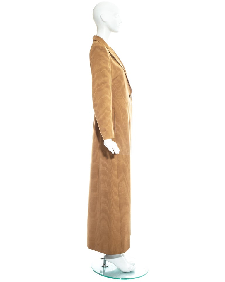 Givenchy by Alexander Mcqueen camel moire rayon tailored maxi jacket, fw 1997 For Sale 3