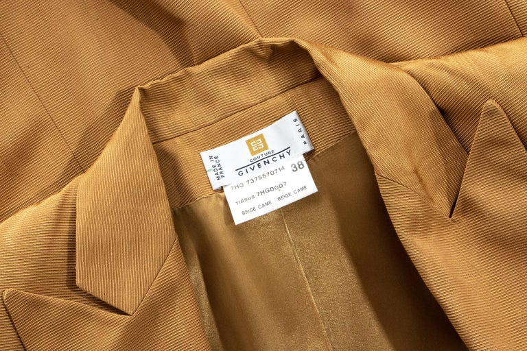 Givenchy by Alexander Mcqueen camel moire rayon tailored maxi jacket, fw 1997 For Sale 5