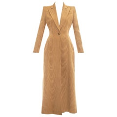 Givenchy by Alexander Mcqueen camel moire rayon tailored maxi jacket, fw 1997