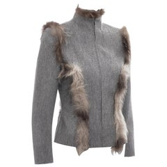 Givenchy by Alexander McQueen grey cashmere wool and fox fur jacket, fw 1999