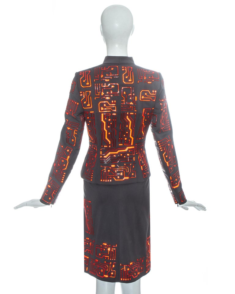 Givenchy by Alexander McQueen grey wool circuit board skirt suit, fw 1999 For Sale 5