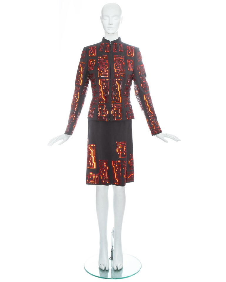 Black Givenchy by Alexander McQueen grey wool circuit board skirt suit, fw 1999 For Sale