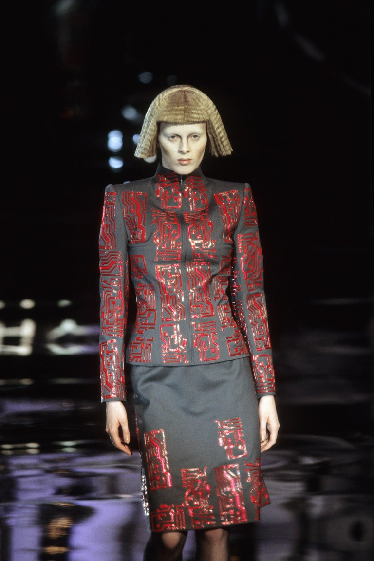 Givenchy by Alexander McQueen grey wool circuit board skirt suit, fw 1999 In Excellent Condition For Sale In London, London