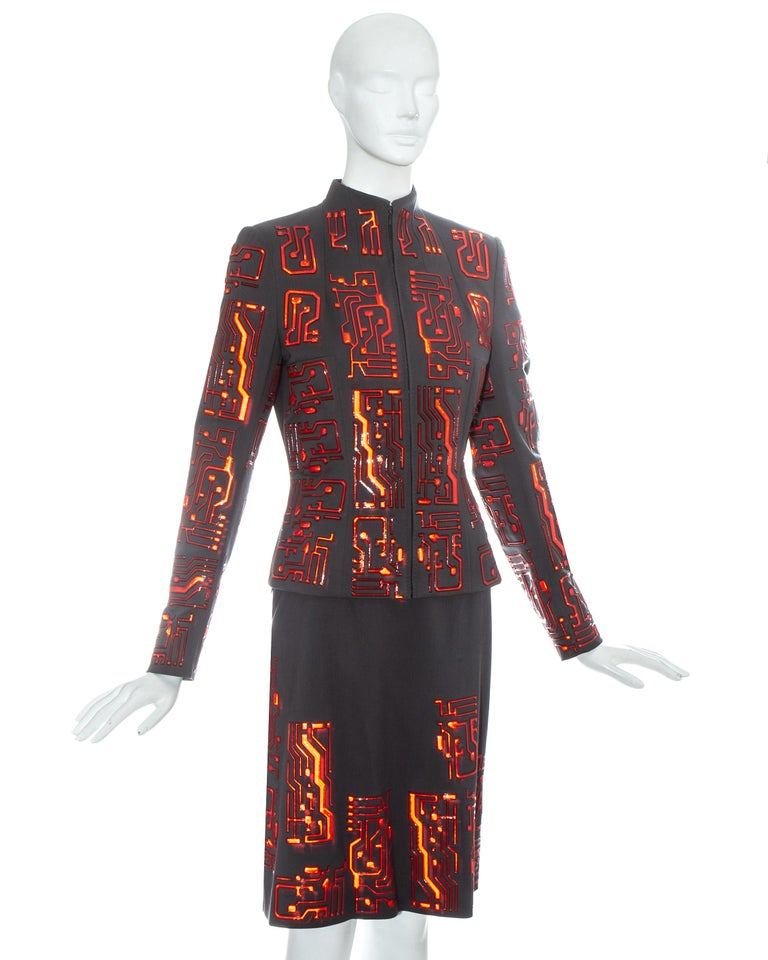 Givenchy by Alexander McQueen grey wool circuit board skirt suit, fw 1999 For Sale 1