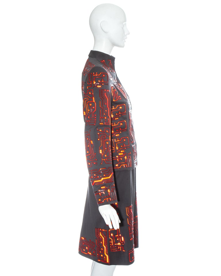 Givenchy by Alexander McQueen grey wool circuit board skirt suit, fw 1999 For Sale 3