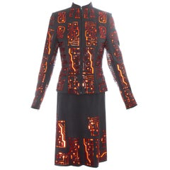Givenchy by Alexander McQueen grey wool circuit board skirt suit, fw 1999