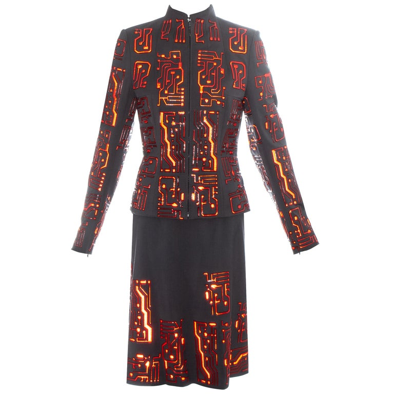 Givenchy by Alexander McQueen grey wool circuit board skirt suit, fw 1999 For Sale